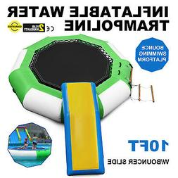 10Ft Inflatable Water Trampoline with Bouncer Slide Bungee B
