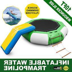 10Ft Inflatable Water Trampoline with Bouncer Slide Platform