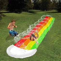14Ft Lawn Water Slides Rainbow Silp Slide with Spraying and