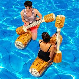 Transer 2 Set Swim Ring Wood Shape Boat with Quant Water Inf