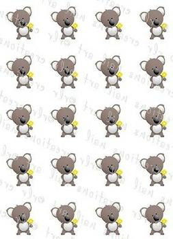 20 CUTE KOALA BEAR WATER SLIDE NAIL ART DECALS- GREAT FOR KI