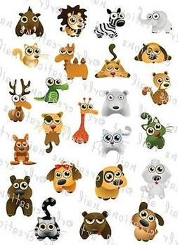 24 CUTE ZOO ANIMALS WATER SLIDE NAIL ART DECALS- GREAT FOR K