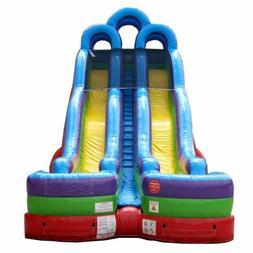 24'H Rainbow Commercial Inflatable Dual Lane Water Slide Jum