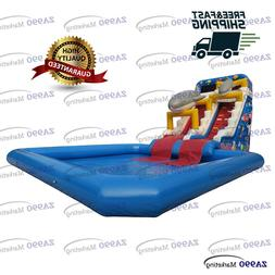 26x13x21ft Inflatable Shark Slide With Pool Water Park Aqua