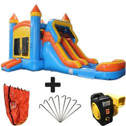 28ft Blue & Orange Wet/Dry Commercial Inflatable Bounce Hous