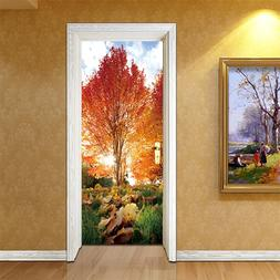 2pcs/set 3D Effect Autumn Maple Leaf Park Door Sticker <font