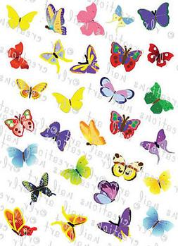 30 COLORFUL BUTTERFLIES WATER SLIDE NAIL ART DECALS- GREAT F