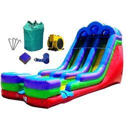 35'x18' Double Lane Retro Inflatable Water Slide With Blower