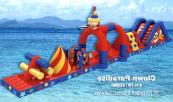 60x20x10 Commercial Floating Clown Obstacle Course Inflatabl