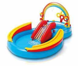 Intex 9.75ft x 6.3ft x 53in Rainbow Ring Center Slide Kids P