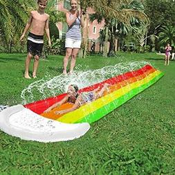 AMENON 14 FT Lawn Water Slides, Rainbow Slip Slide Play Cent
