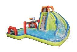 Banzai Aqua Sports Water Park W/ Removable Net, Slide, & Wat