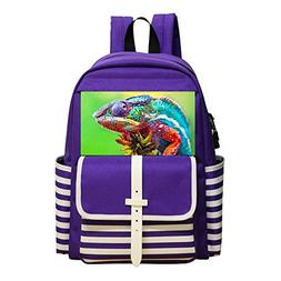 Aslgisy Kids Backpacks,Nature Brightly Colored Lizard Multip