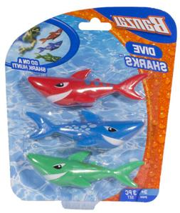 Banzai Swimming Pool Diving Toys Sharks, 3 in a Pack, Ages 3