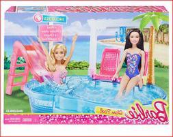 Barbie Glam POOL & SLIDE Play Set -Water Slide + Chairs Palm