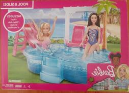 Barbie Glam Pool with Water Slide and Pool Accessories Kid T