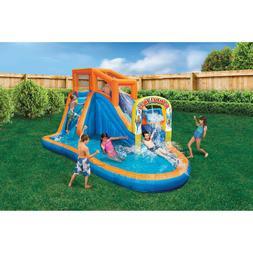 blue orange inflatable water slide air blower