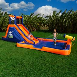 Blue Orange Pirate Theme Air Inflatable Water Park Slide Out