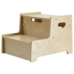 ECR4Kids Boost Me Up Step Stool, Two Step Wood Stepping Stoo