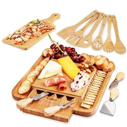 Cheese Board & Cutlery Set with Slide-Out Drawer 100% Natura