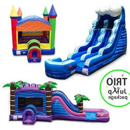Commercial Inflatable TRIO Water Slide Wet/Dry Combo Bounce