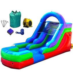 Commercial Inflatable Water Slide Wet Dry Blue Marble Bounce