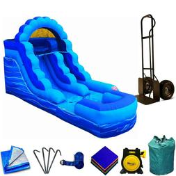commercial inflatable water slide with blower blue