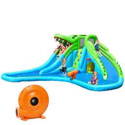 Crocodile Inflatable Water Slide Park Dual Slides Climbing W