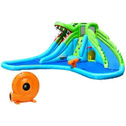 Crocodile Inflatable Water Slide Park Dual Slides Climbing W