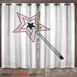 RenteriaDecor Outdoor Curtain for Patio Hand Drawn Magic Wan