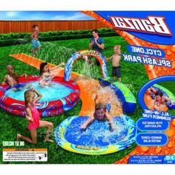cyclone splash park inflatable with sprinkling slide