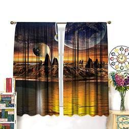Fantasy House Decor Curtains Alien Planet with Earth Moon an