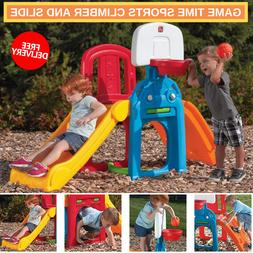 Game Sports With Climber & Slide And Kids Basketball Hoop An