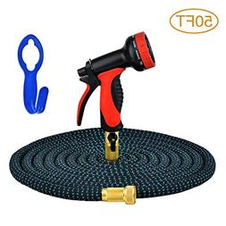 GYMAN Garden Hose 50 Feet Expanding Water Hose with 10 Patte