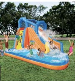 💦 Banzai Gushing Geyser Inflatable Water Park Slide Pool.