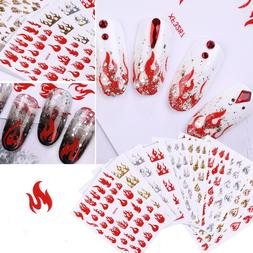 Holographic Nail Fire Flame <font><b>Vinyls</b></font> Stenc
