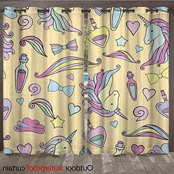WinfreyDecor Home Patio Outdoor Curtain Seamless Pattern wit