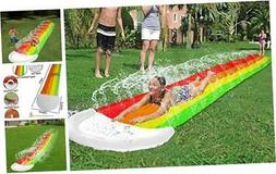 igeekid 14ft lawn water slides rainbow silp