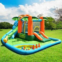 Inflatable Bounce House Kids Water Splash Pool Dual Slide Ju