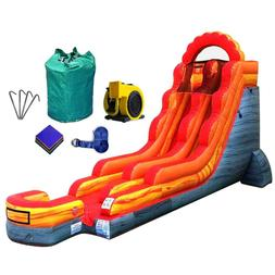 18' Inflatable Bouncer Slide Wet Dry Backyard Fire Marble Mo