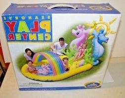 Intex Inflatable Family Seahorse Kiddie Pool Blow Up W/ Spra