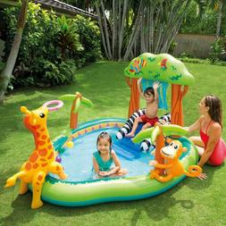 inflatable jungle play center with water slide