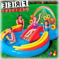 Inflatable Kid Pool Slide Intex Sprayer Kiddie Swimming Wate