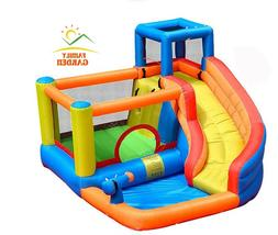 Inflatable Outdoor Water Slide With Swimming Pool And Gun Sl