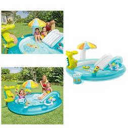Inflatable Play Center Kiddie Wading Shade Pool Water Slide
