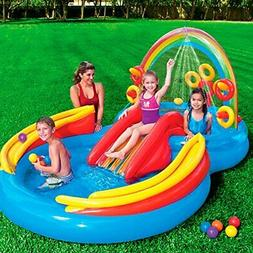 Inflatable Play Center Rainbow Ring With Waterslide Wading P