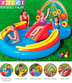 Inflatable Play Center With Water Slide Wading Pool Water Sp