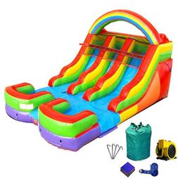 Inflatable Rainbow Double Lane Wet Dry Slide Commercial Wate
