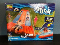 Inflatable Triple Water Slide Outdoor Kids Play Backyard Poo