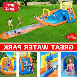 Inflatable Water Park Play Splash Pool Slide With Water Cann